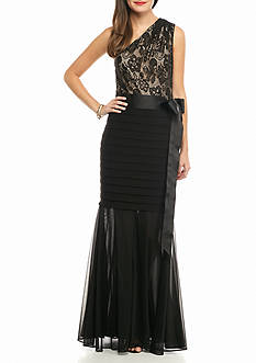 Betsy & Adam One Shoulder Lace Bodice Gown