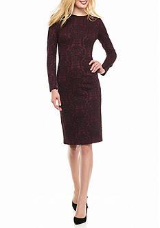 Maggy London Printed Jacquard Sheath Dress