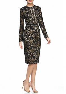 Maggy London Metallic Bonded Lace Midi Sheath Dress
