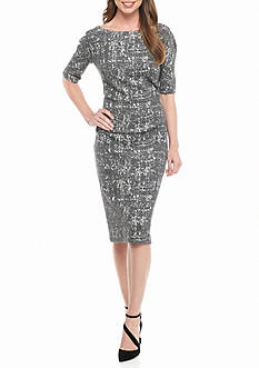 Maggy London Textured Knit Midi Sheath Dress