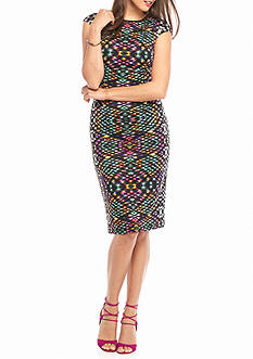 Maggy London Printed Scuba Midi Sheath Dress