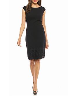 Maggy London Lace Trim Sheath Dress