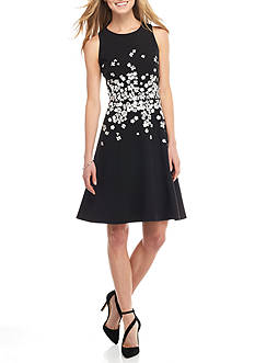 Maggy London Embroidered Fit and Flare Dress