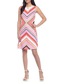 Maggy London Striped Fit-and-Flare Dress