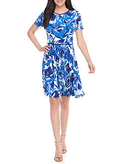 Maggy London Brushed Floral Fit and Flare Dress
