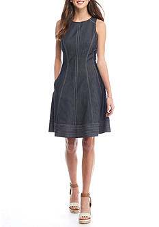 Maggy London Denim Fit and Flare Dress