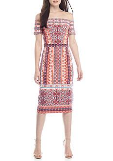 Maggy London Off The Shoulder Printed Midi Sheath Dress