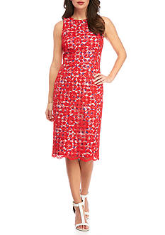 Maggy London Sleeveless Lace Bloom Sheath Dress