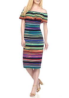 Maggy London Off the Shoulder Stripe Midi Sheath Dress