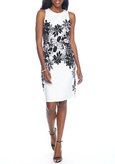 Maggy London Sleeveless Daisy Bloom Sheath Dress