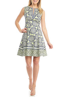 Maggy London Sleeveless Printed Fit and Flare Dress