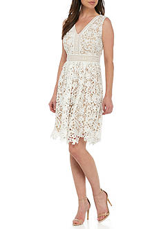 Maggy London Floral Lace Fit-and-Flare Dress