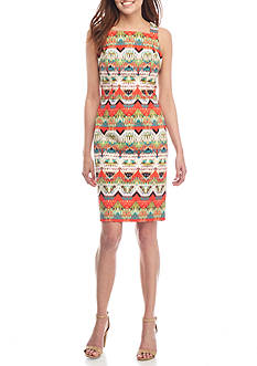 Maggy London Feather Ikat Striped Square Neck Sheath Dress