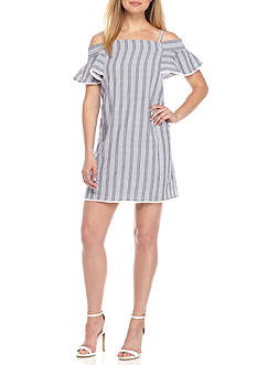 Maggy London Cold Shoulder Stripe Seersucker Shift Dress