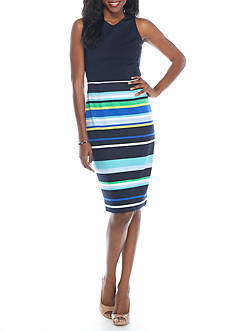 Maggy London Sleeveless Regatta Striped Sheath Dress