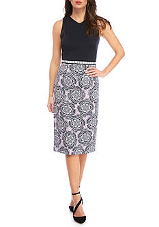 Maggy London Twin Etched Flower Sheath Dress
