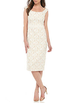 Maggy London Floral Printed Jacquard Midi Sheath Dress