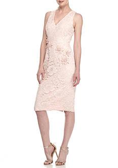 Maggy London Flower Applique Lace Midi Sheath Dress