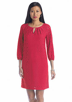 London Times Three-Quarter Sleeve Shift Dress