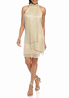 London Times Halter Foiled Shift Dress