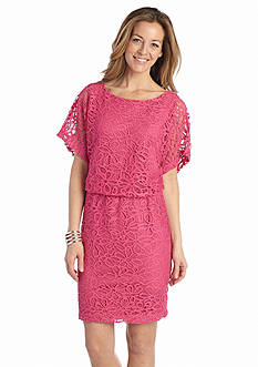 London Times Allover Lace Blouson Dress
