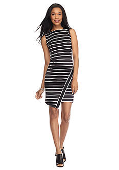 London Times Striped Scuba Sheath Dress