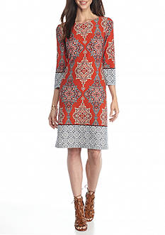 London Times Printed Shift Dress
