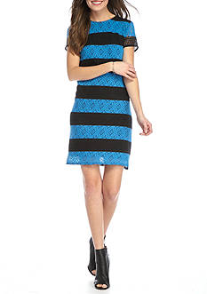 London Times Colorblock Lace Shift Dress