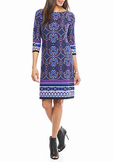 London Times Paisley Printed Shift Dress