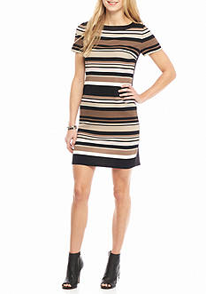 London Times Textured Knit Stripe Shift Dress