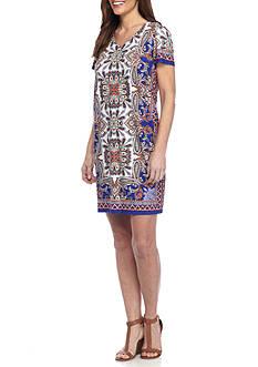 London Times V Neck Shift Dress