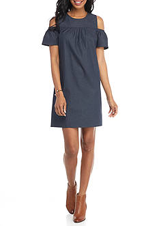 London Times Ruffle Sleeve Cold Shoulder Shift Dress