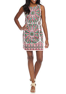 London Times Patterned Sleeveless Shift Dress