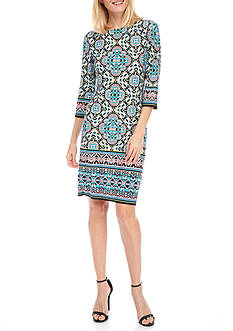 London Times Abstract Jersey Shift Dress