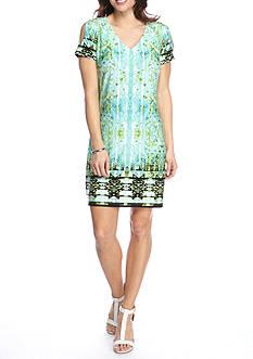 London Times V-Neck Short Sleeve Split Dress