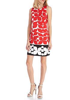 London Times Sleeveless Printed Shift Dress