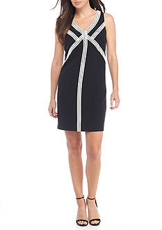 Kelly & Diane Novelty Trim Racerback Shift Dress
