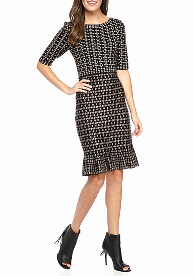 Taylor Printed Sweater Dress with Flounce Hem