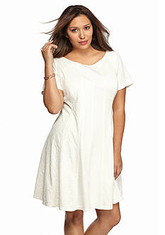 Taylor Plus Size Jacquard Fit-and-Flare Dress
