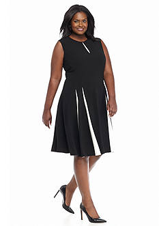 Taylor Plus Size Colorblock Fit-and-Flare Dress