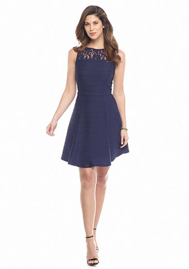 Taylor Textured Knit Fit and Flare Dress