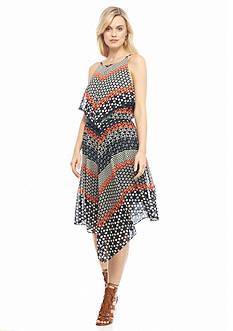 Taylor Printed Chiffon Hankie Hem Dress