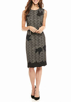 Taylor Printed Jacquard Knit Sheath Dress