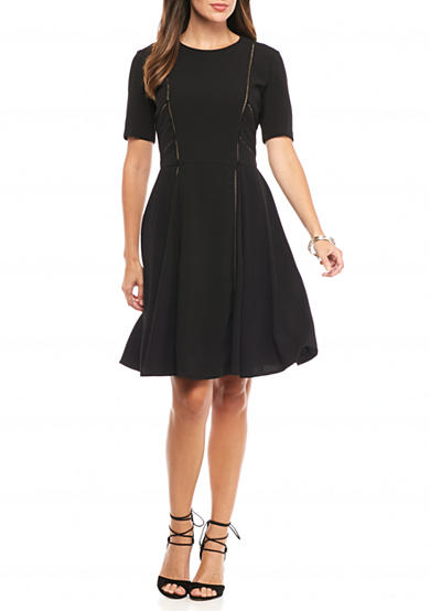 Taylor Stretch Crepe Fit and Flare Dress