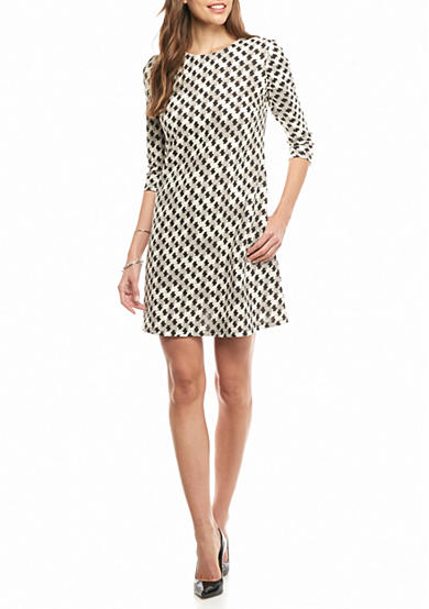 Taylor Houndstooth Printed Trapeze Dress