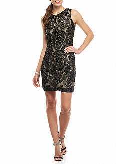 Taylor Lace and Sequin Sheath Dress