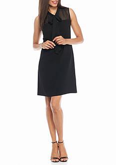 Taylor Bow-Tie Neck Sheath Dress