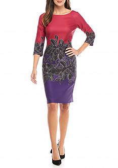 Taylor Colorblock with Place Floral Print Sheath Dress