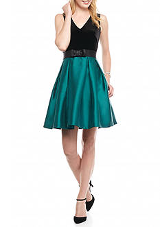 Taylor Velvet Bodice Fit and Flare Dress