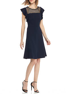 Taylor Flutter Sleeve Fit-and-Flare Dress